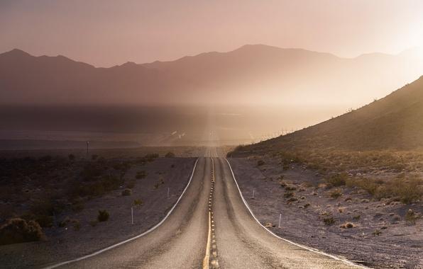 Картинка дорога, свет, пейзаж, горы, утро