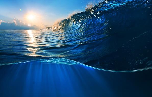 Картинка море, вода, закат, океан, волна, sky, sea, ocean, blue, splash, wave