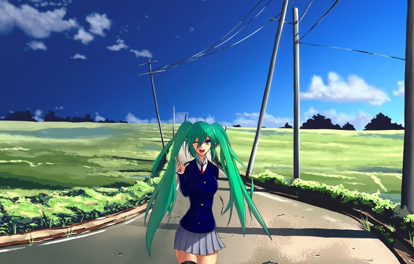 Картинка дорога, небо, облака, газон, столбы, волосы, арт, синее, Vocaloid, вокалоид, длинные, зелёные, Hatsune miku