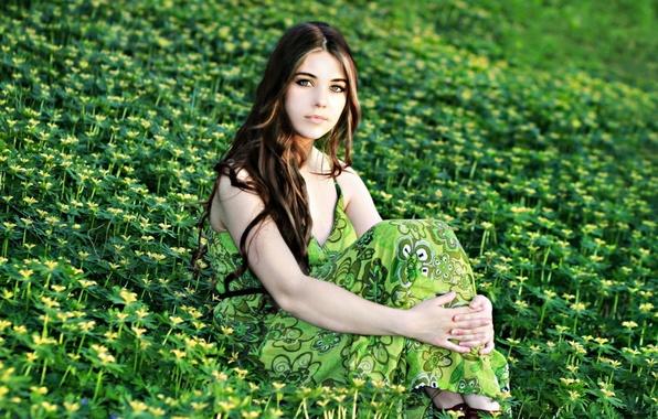 Картинка поле, лето, девушка, цветы, природа