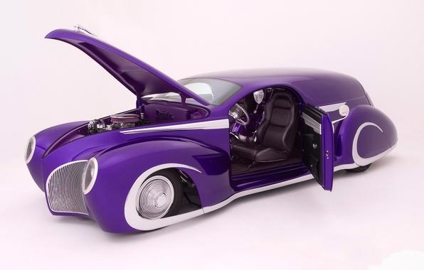 Картинка Машины, на белом фоне, фиолетовая машина, низкая посадка, открыты дверь и капот, lincoln custom