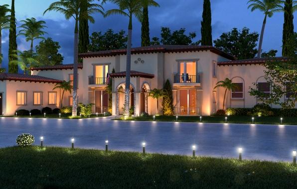 Картинка дом, стиль, вилла, вечер, house, villa, экстерьер, пальмы., exterior, hoom