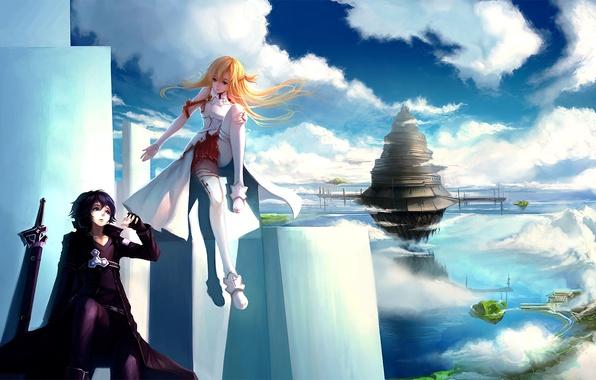 Картинка девушка, облака, город, оружие, башня, арт, плиты, парень, в небе, sword art online, yuuki asuna, …