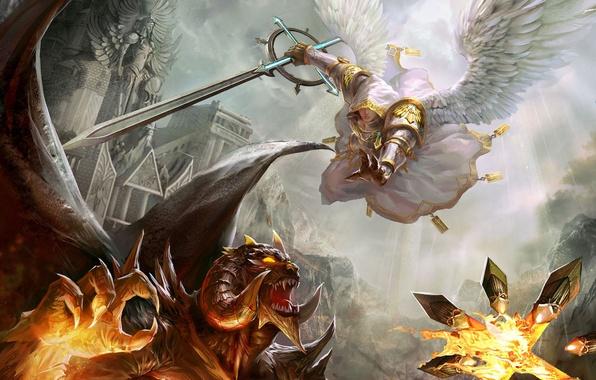 Картинка замок, крылья, ангел, меч, дьявол, Heroes of Might & Magic, Герои Меча и Магии