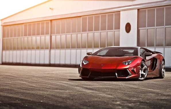Картинка красный, Lamborghini, ангар, red, ламборджини, LP700-4, Aventador, ламборгини, авентадор, Mansory, LB834