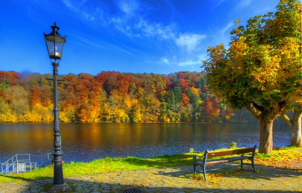 Картинка осень, небо, деревья, скамейка, природа, река, фото, HDR, Германия, фонари, Ульмен