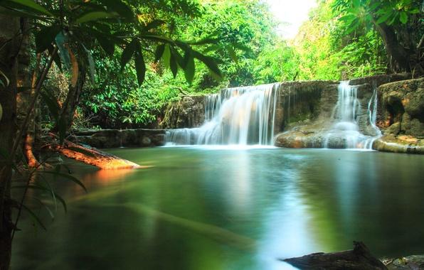 Картинка зелень, лес, солнце, тропики, ручей, водопад, Таиланд