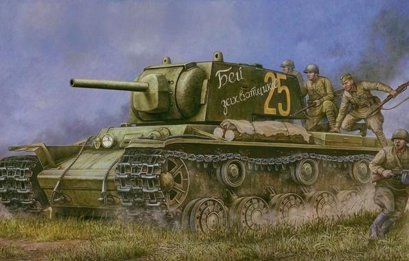 Картинка война, арт, танк, пехота, советская, контроатака