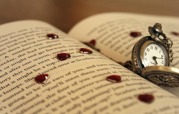 Картинка макро, текст, стрелки, сердце, часы, сердечки, циферблат, страница, 1920x1080