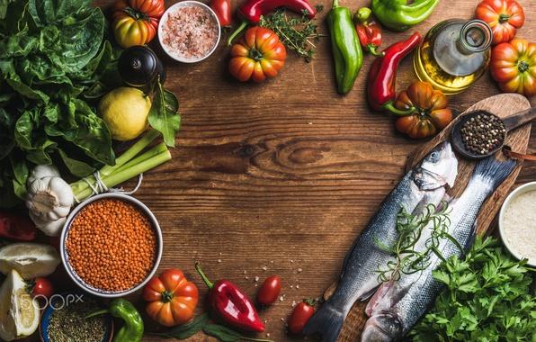 Картинка рыбы, стол, еда, рыба, овощи, приправы