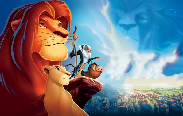 Картинка животные, облака, природа, скала, фильм, обои, кабан, львица, тимон, король лев, пумба, нала, симба, Мандрил, …