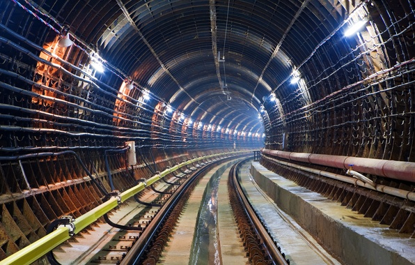 Обои картинки фото метро тоннель