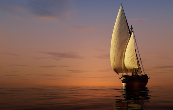 Фото обои закат, горизонт, небо, яхта, паруса, 3D, море