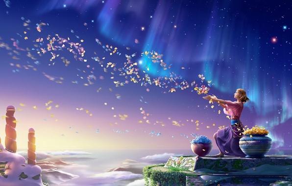 Картинка небо, девушка, цветы, северное сияние, лепестки, арт, kagaya