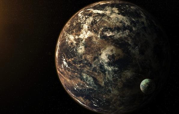 Картинка космос, планета, спутник, звёзды