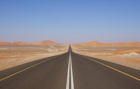Картинка Небо, Фото, Дорога, Пустыня, Трасса, Дюны, Барханы