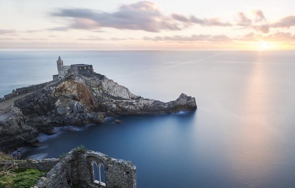 Картинка море, небо, пейзаж, замок, руины, castle