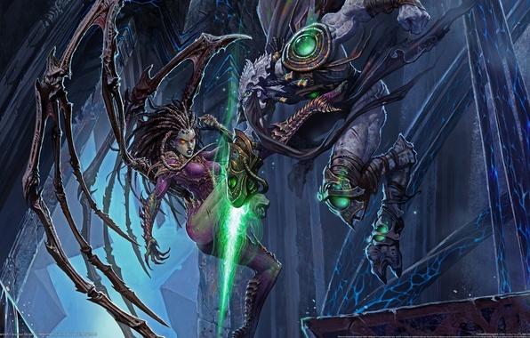 Картинка Бой, Схватка, Starcraft 2, Королева Зергов, Старкрафт 2
