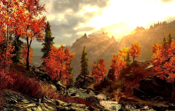 Картинка осень, лес, горы, картина, арт, красивая, живопись, painting, речка.