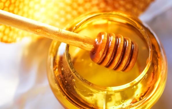 Картинка соты, мед, ложка, банка, мёд, баночка