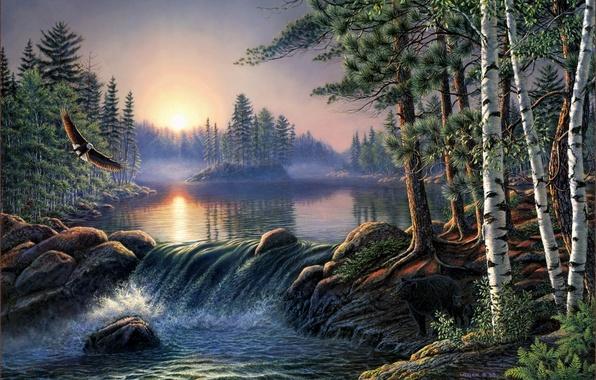 Картинка лес, пейзаж, туман, река, восход, орел, медведь, береза, forest, живопись, берёзы, river, bear, nature, сосна, …