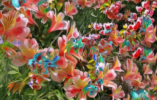 Картинка листья, цветы, рендеринг, лепестки, сад, клумба