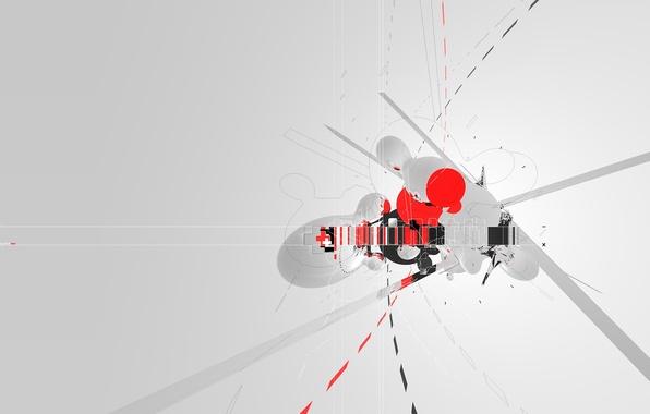 Картинка крест, minimal, trance, AMPLIFIER404, cinema 4d, штрихи