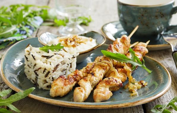 Картинка зелень, барбекю, рис, соус, шашлык, rice, BBQ, fresh herbs, barbecue sauce