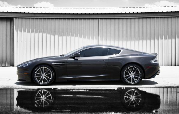 Картинка отражение, серый, Aston Martin, тень, DBS, лужа, профиль, астон мартин, grey, дбс