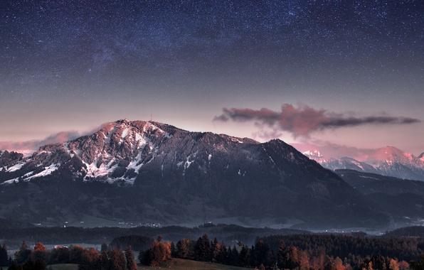 Картинка лес, небо, звезды, деревья, горы, вечер, Германия, сумерки, Млечный Путь