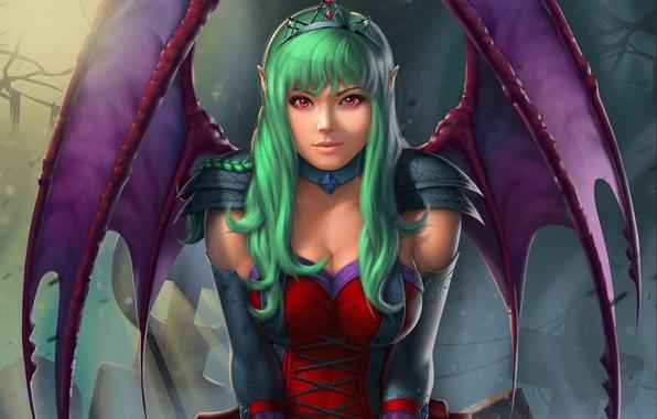 Фото обои взгляд, зеленые волосы, крылья, вампирша, арт