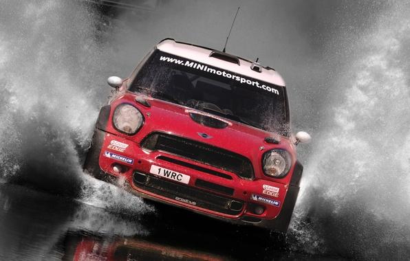 Картинка Вода, Красный, Спорт, решетка, Машина, Гонка, Капот, Брызги, Фары, Mini Cooper, Автомобиль, WRC, Rally, MINI, …