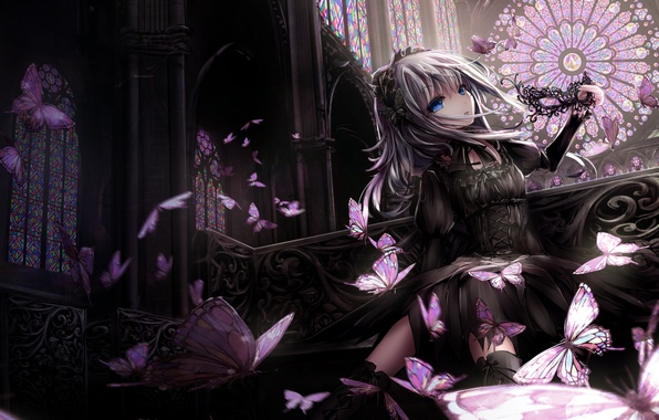 Картинка девушка, бабочки, платье, маска, missle228