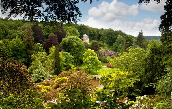 Картинка небо, трава, облака, деревья, мост, озеро, пруд, парк, Англия, England, Wiltshire, Уилтшир