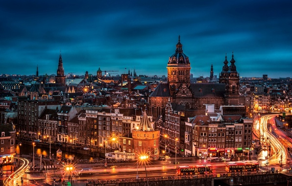 Картинка ночь, мост, город, огни, здания, дороги, дома, вечер, выдержка, крыши, Амстердам, панорама, Нидерланды, улицы, Amsterdam, …