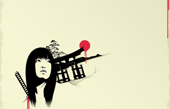 Картинка взгляд, девушка, кровь, Япония