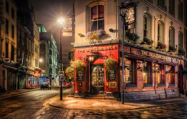 Картинка ночь, улица, Англия, Лондон, фонари, кафе, England, City By Night
