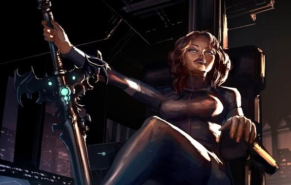 Картинка девушка, меч, кресло, арт, сидя, Loyvet Pierre