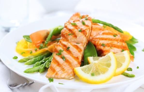 Картинка лимон, еда, рыба, фрукты, овощи, food, fish, гарнир