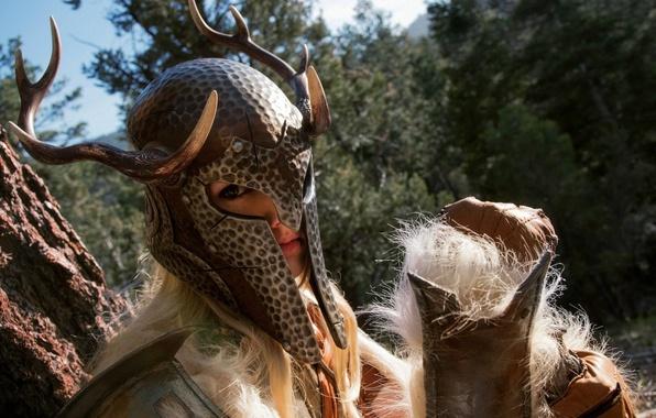 Картинка девушка, воин, рога, шлем, воительница, women, косплей, skyrim, cosplay, The Elder Scrolls