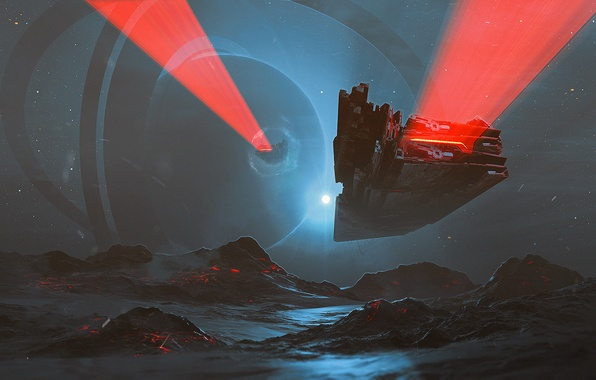 Картинка космос, свет, горы, фантастика, корабль, планета, кольцо, spaceship