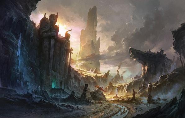 Картинка облака, пейзаж, закат, горы, река, восход, скалы, водопад, арт, руины, статуи, заброшенность, пики, вход, гигантсике