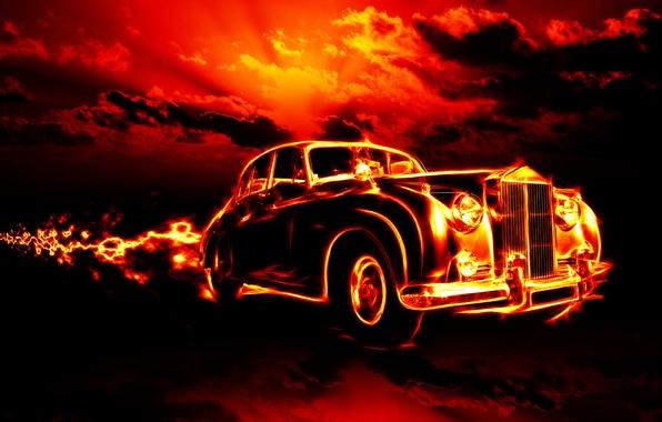 Картинка car, облака, машины, city, города, огонь, пламя, fire, flame, ужас, horror, классика, smoke, clouds, classic, …