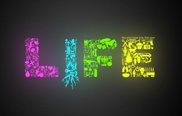 Картинка цвета, жизнь, надпись, минимализм, рисунки, фигуры, minimalism, life, слово
