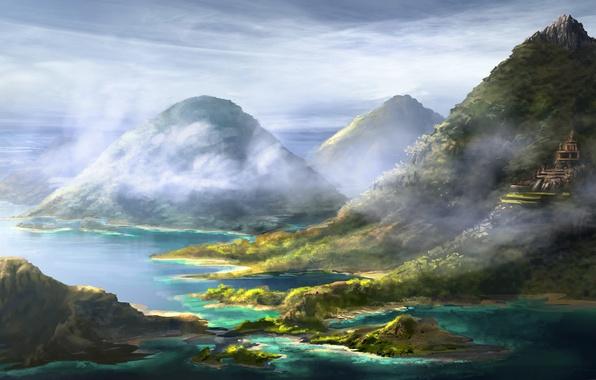 Картинка небо, облака, горы, природа, туман, красота, арт