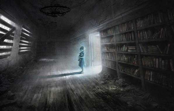 Картинка комната, игрушка, книги, медведь, арт, девочка, библиотека, руины, заброшенность, полки, мрачность, seafh