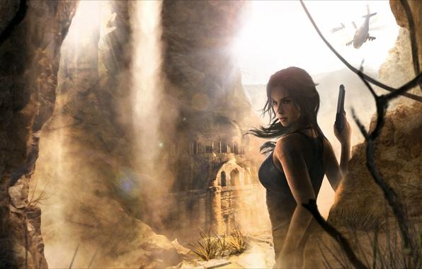 Картинка песок, взгляд, девушка, вертолеты, руины, lara croft, tomb raider