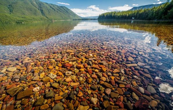 Картинка вода, природа, озеро, камни, Nature, Landscape, Glacier National Park, Montana, Lake McDonald