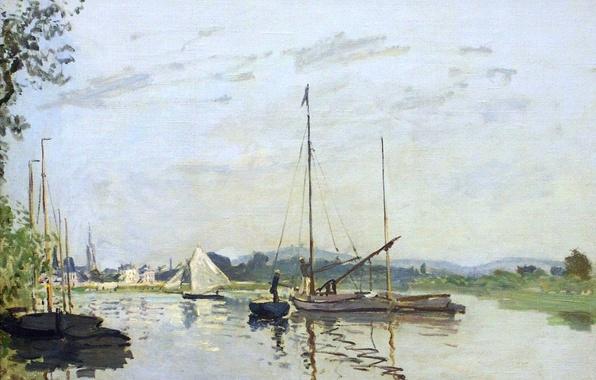 Картинка пейзаж, река, лодка, картина, парус, Клод Моне, Аржантёй
