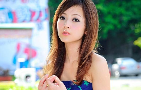 Картинка глаза, девушка, фон, модель, волосы, губы, азиатка, Mikako, Zhang Kaijie